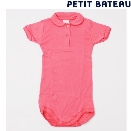 【出産祝いにも☆】プチバトー PETIT BATEAU アンダーウェア ベビー 女の子 ピコレースポロシャツボディ キャンディピンク 新品