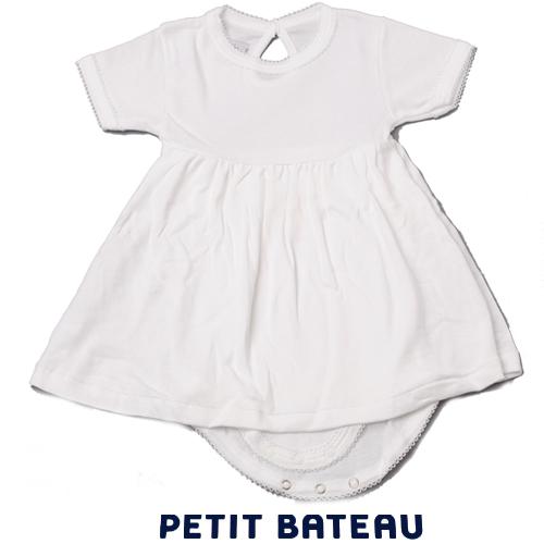【出産祝いにも☆】プチバトー PETIT BATEAU ベビー 女の子 ピコレース 半袖 ボディドレス ホワイト 新品
