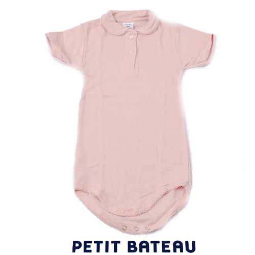 【出産祝いにも☆】プチバトー PETIT BATEAU アンダーウェア ベビー 女の子 ピコレースポロシャツボディ ミルキーピンク