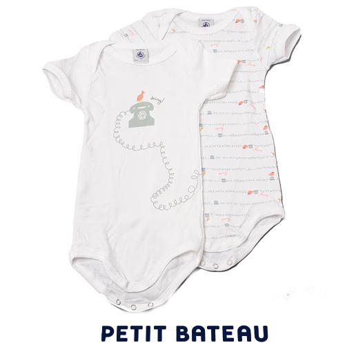 【出産祝いにも☆】プチバトー PETIT BATEAU ベビー アンダーウェア 電話プリント 半袖ボディ 2枚組セット 新品
