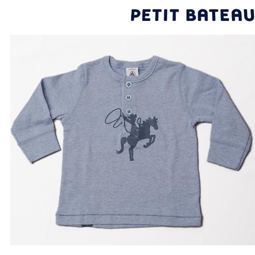 【出産祝いにも☆】プチバトー PETIT BATEAU ベビー カウボーイモチーフ ヘンリーネック 長袖Tシャツ 新品
