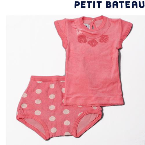 【出産祝いにも☆】プチバトー PETIT BATEAU ベビー 女の子 クリアポーチ付 ネックレスプリントTシャツ&ブルマセット 新品