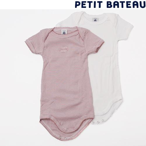 【出産祝いに☆】プチバトー PETIT BATEAU アンダーウェア ベビー 女の子 ミラレ 半袖ボディ 2枚組セット 新品