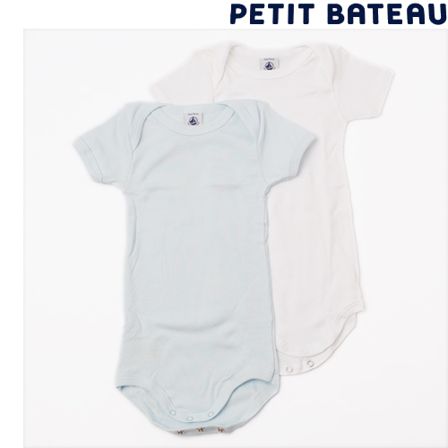 【出産祝いに☆】プチバトー PETIT BATEAU アンダーウェア ベビー 男の子 半袖ボディ 2枚組セット