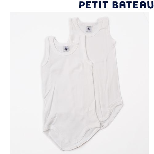 【出産祝いに☆】プチバトー PETIT BATEAU アンダーウェア ベビー 男女兼用 ホワイト ランニングボディ 2枚組セット
