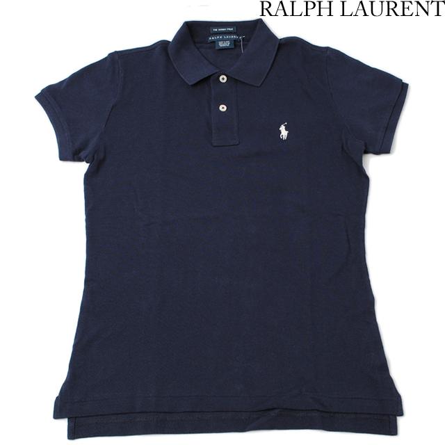 ラルフローレン Ralph Lauren ポロシャツ レディース 半袖 コットン ネイビー Mサイズ