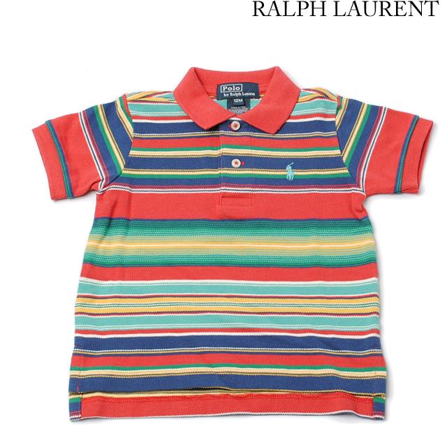 ポロ ラルフローレン Ralph Lauren ポロシャツ キッズ/ベビー 半袖 コットン ポニー ボーダー レッドマルチ 380151424