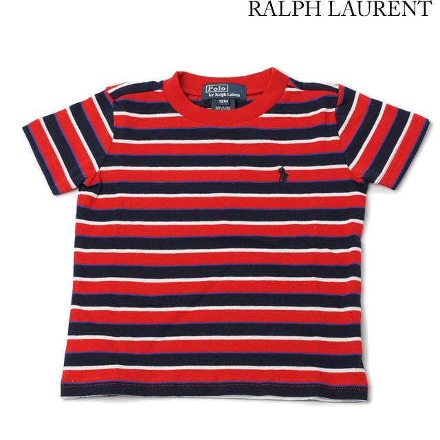 ポロ ラルフローレン Polo Ralph Lauren Tシャツ キッズ/ベビー 半袖 コットン ポニー ボーダー レッド/ネイビー 380160577