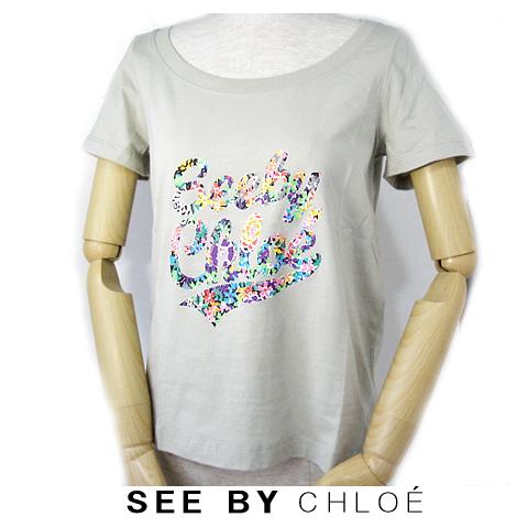 【送料無料】09春夏 シーバイクロエ SEE BY CHLOE 半袖Tシャツ  レインボーロゴ入り/カーキ 新品