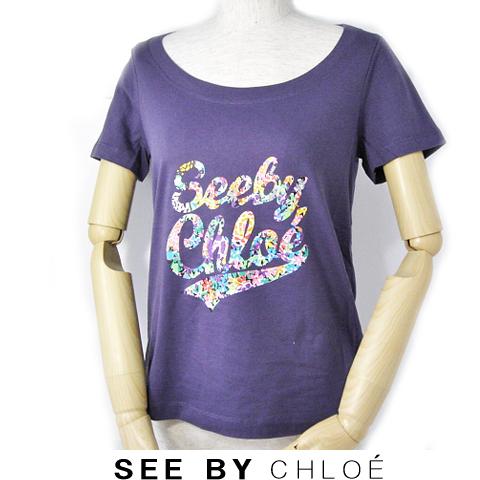 【送料無料】09春夏 シーバイクロエ SEE BY CHLOE 半袖Tシャツ  レインボーロゴ入り/パープル 新品