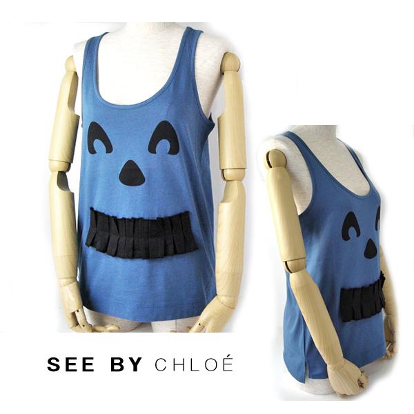 【送料無料】09春夏 シーバイクロエ SEE BY CHLOE タンクトップ スマイル・フェイス/ブルー 新品