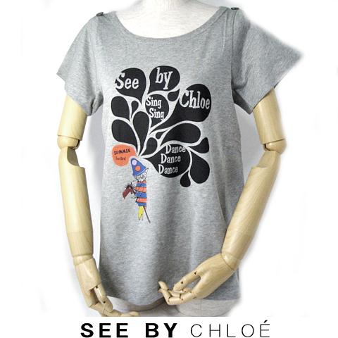 【送料無料】09春夏 シーバイクロエ SEE BY CHLOE 半袖Tシャツ 猫/グレー 新品