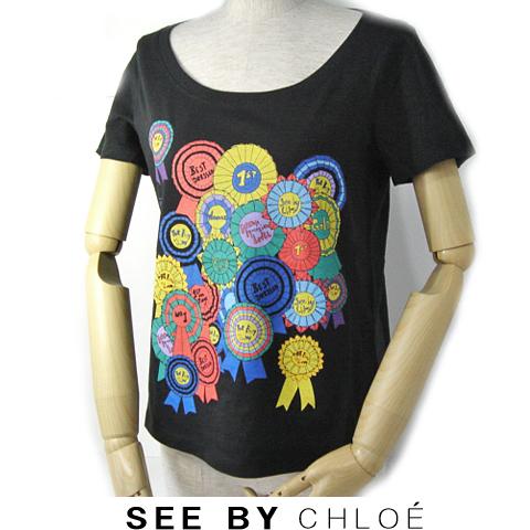 【送料無料】09春夏 シーバイクロエ SEE BY CHLOE 半袖Tシャツ 缶バッジ/ブラック 新品
