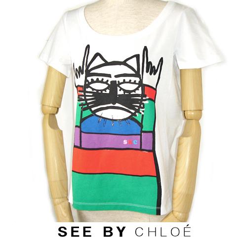 【送料無料☆セール】シーバイクロエ SEE BY CHLOE 半袖Tシャツ 猫/ホワイト 新品