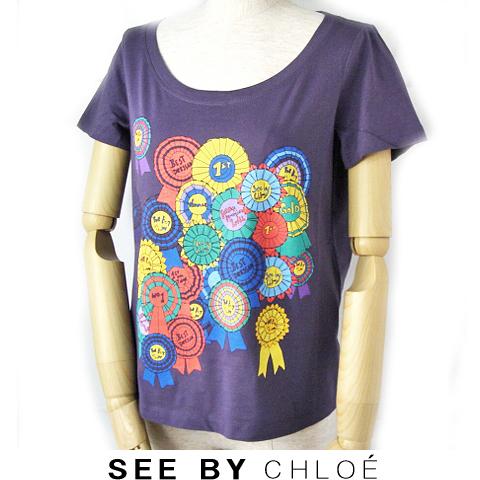 【送料無料】09春夏 シーバイクロエ SEE BY CHLOE 半袖Tシャツ 缶バッジ/パープル 新品