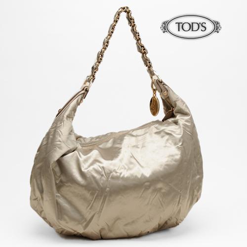 TOD'S トッズ ショルダーバッグ ホーボー ナイロン シャンパンゴールド 【中古】【送料無料】