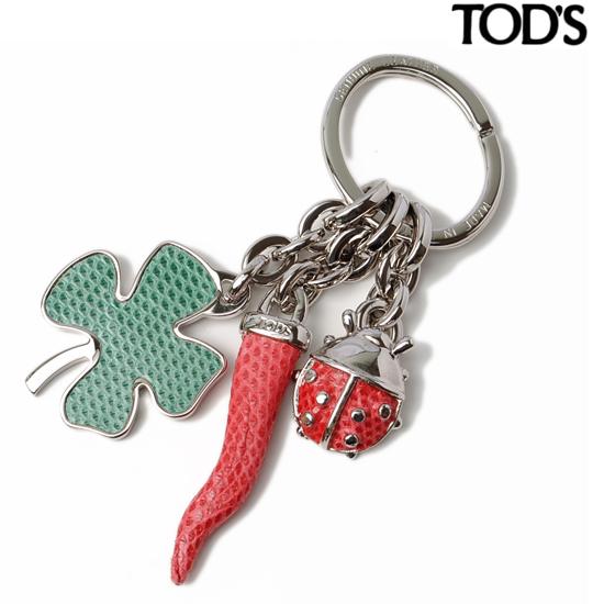 TOD'S トッズ キーホルダー/キーリング GOOD LUCK レッド/ペパーミント XAWAAQG1100KK01036 【新品】【送料無料】