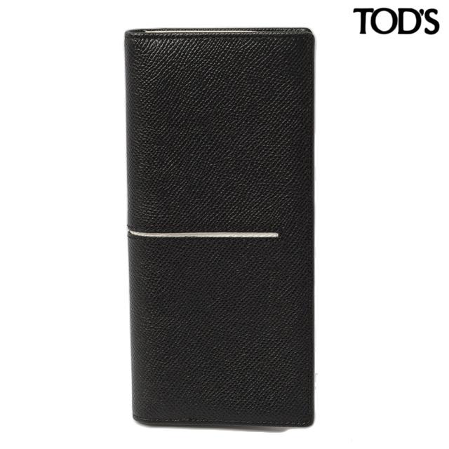 トッズ TOD'S 長財布  2折 メンズライン レザー ブラック/ライトグレー XAMACHB7300DOU829