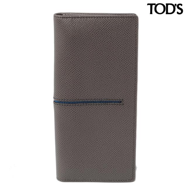 トッズ TOD'S 長財布  2折 メンズライン レザー グレー/ブルー XAMACHB7300DOU470