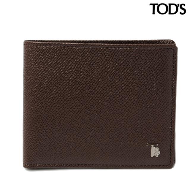 トッズ TOD'S 折財布  メンズ 2折 型押しレザー ダークブラウン XAMLEOBB300DOUS804