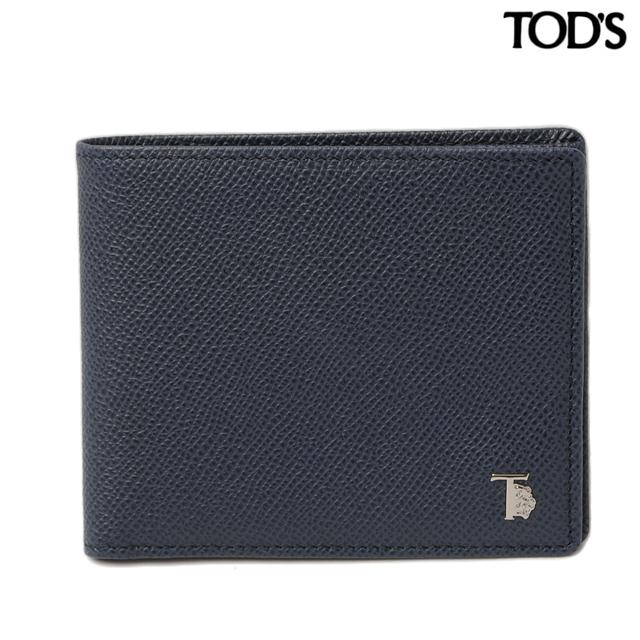 トッズ TOD'S 折財布  メンズ 2折 型押しレザー ネイビー XAMLEOBB300DOUU820