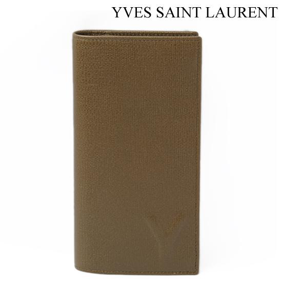 Yves Saint Laurent イヴ・サンローラン メンズ 2折財布 オリーブグリーン 247455 BF90N 2540【新品】【送料無料】