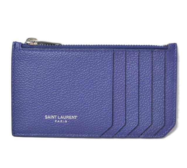サンローラン コインケース/カードケース YSL SAINT LAURENT PARIS シップポーチ カーフレザー パープル 458589