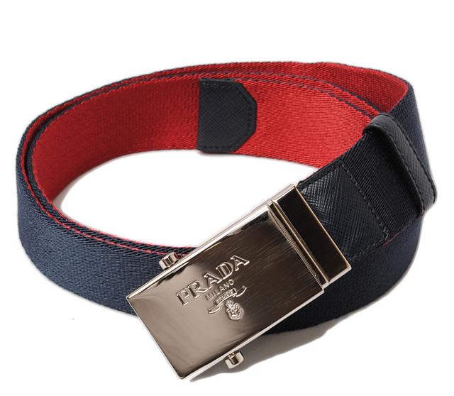 プラダ ベルト PRADA メンズ 2C6077 キャンバス バイカラー BLUE/ROSSO ブルー/レッド