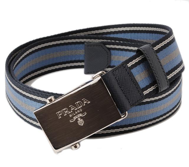 プラダ ベルト メンズ 2C4627 キャンバス ストライプ ブルー/グレー/ホワイト