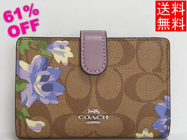 コーチ アウトレット 二つ折り財布F73374花柄紫
