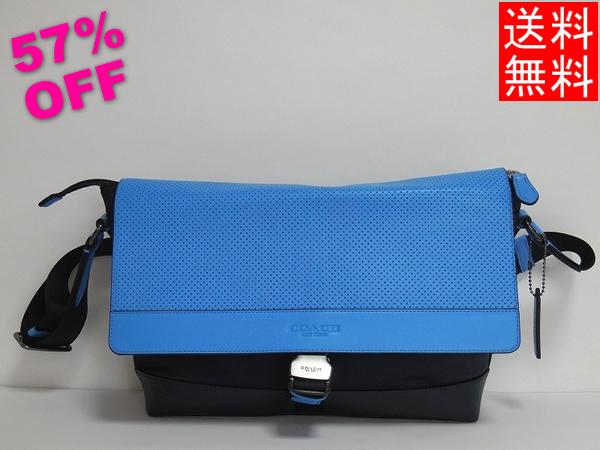 コーチ メンズ 斜めがけバッグF71968青×紺