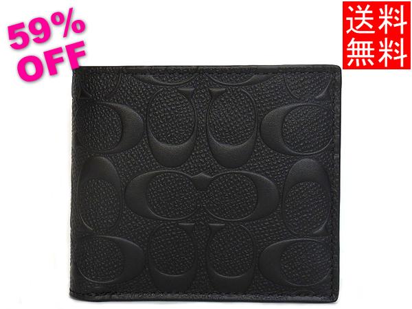 コーチ メンズ アウトレット 二つ折り財布F75363黒