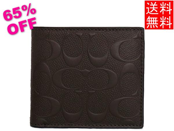 コーチ メンズ アウトレット 二つ折り財布F75363茶色