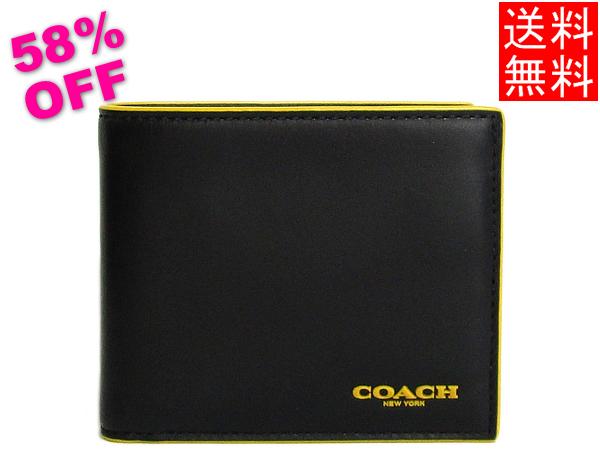 コーチ メンズ二つ折り財布F88135黒黄色