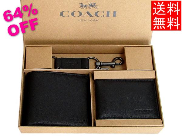 コーチ メンズ ID二つ折り財布キーホルダーセットF64118黒
