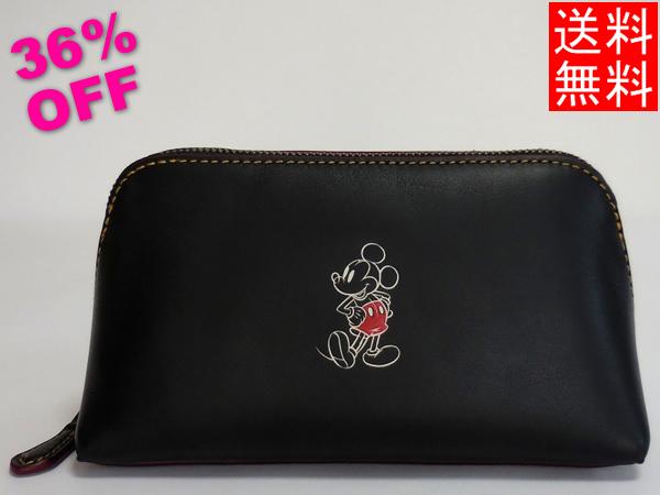 ミッキーマウス 化粧ポーチ コーチF59820黒
