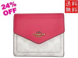 コーチ レディース 三つ折り財布31548白ピンク