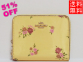 コーチ アウトレット ジップスモール財布F30183黄色花柄
