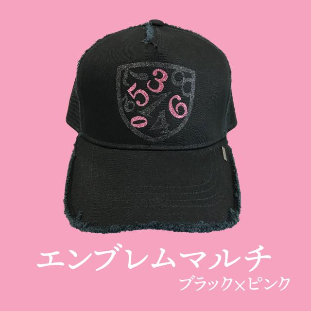 【BRINIKE】グリッターキャップ◆エンブレムマルチ・ブラック×ピンク【数量限定販売】