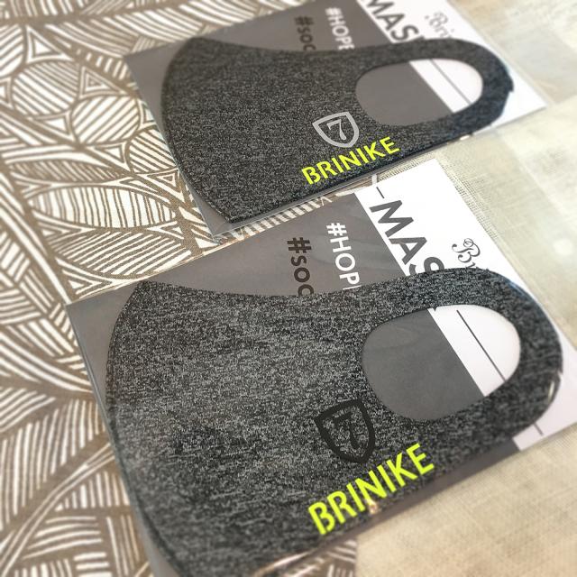 【BRINIKE】デザインマスク◆エンブレム7・マーブルグレー