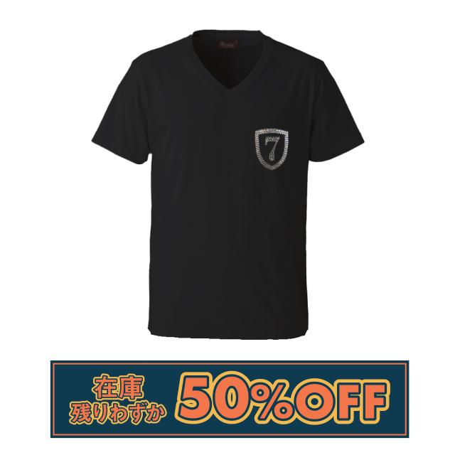 【Lサイズ在庫残り2枚!50%OFFSALE】クリスタルVネックTシャツ◆エンブレム7