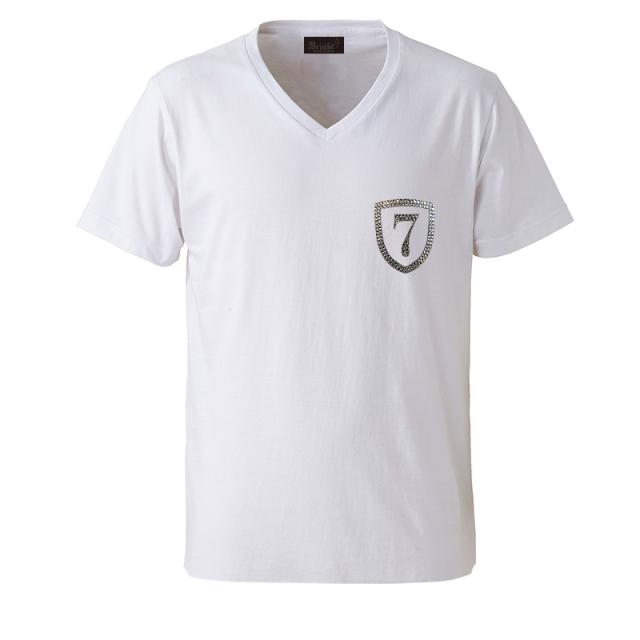 【在庫残り僅か!30%OFFSALE】クリスタルVネックTシャツ◆エンブレム7