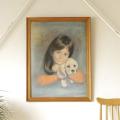 イギリス製・絵画・額入り・アンティーク・ビンテージ・児童画・動物画
