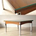 イギリス・コーヒーテーブル・センターテーブル・ガラス・クロム・ビンテージ・アンティーク・ミッドセンチュリー