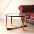 McIntosh・マッキントッシュ・テーブル・円形・ガラス・チーク・ミッドセンチュリー・ビンテージ・アンティーク