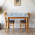 ダイニングテーブル・フォーマイカ・ブルー・アンティーク・ビンテージ・北欧