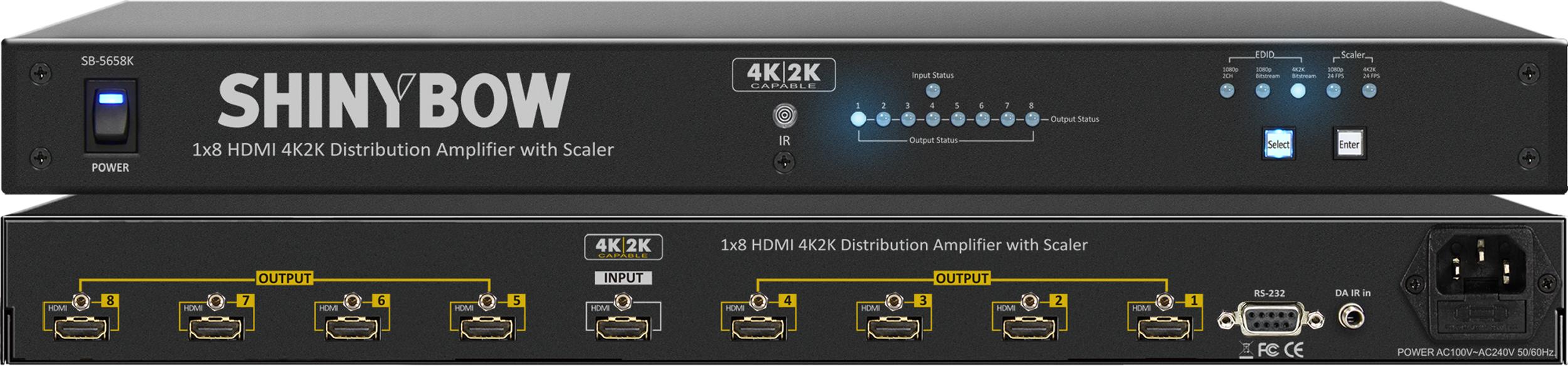 SHINYBOW(シャイニーボー)1入力8出力HDMI分配器 【型番】SB-5658K ※お取り寄せ