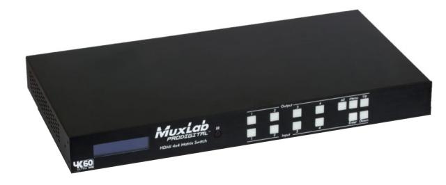 MuxLab(マックスラボ)4入力4出力HDMI2.0マトリックススイッチャー 【型番】MUX-SH500444 ※お取り寄せ