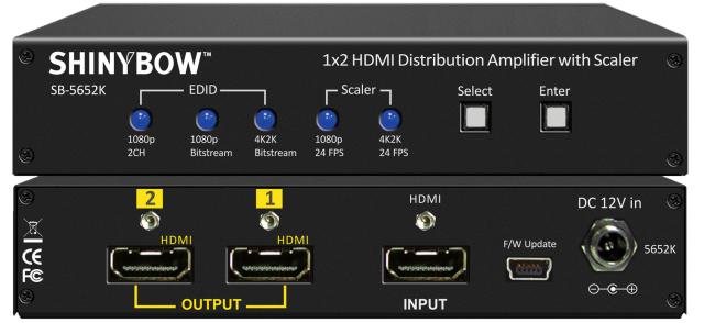 SHINYBOW(シャイニーボー)1入力2出力HDMI分配器 【型番】SB-5652K ※販売終了