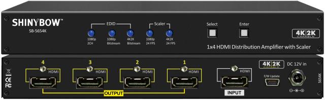 SHINYBOW(シャイニーボー)1入力4出力HDMI分配器 【型番】SB-5654K ※お取り寄せ